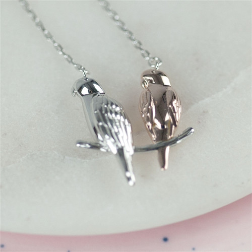 Love Birds Necklace in Silver and Rose Gold