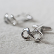 Silver Infinity Cuff Links with Personalized Gift Box