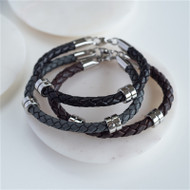 Love You to the Moon & Back Leather Bracelets in Brown , Grey or Black