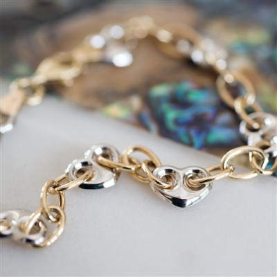 Gold Heart Anniversary Bracelet - in solid 9K White and Yellow Gold