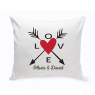 Personalized Love Hearts and Arrows Pillow in Red