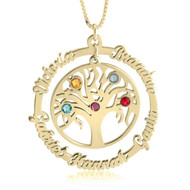 Gold Family Tree necklace personalized with names and birthstones