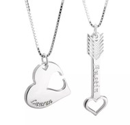 Couple's Personalized Heart and Arrow Necklace Set in Silver