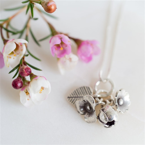 Silver Anniversary Bouquet Necklace