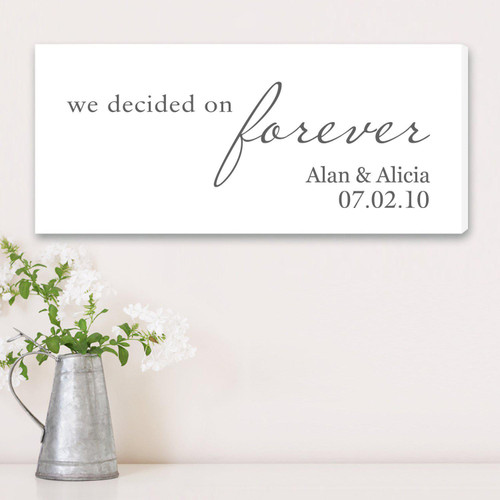 We Decided On Forever Personalized Canvas in White