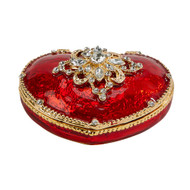 Red enamel heart trinket box decorated with crystals