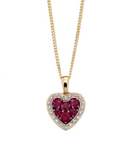 Ruby and Diamond Heart necklace with personalized gift box