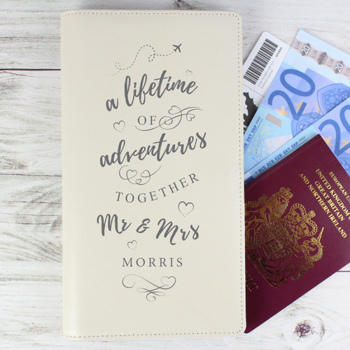 Personalized Mr and Mrs Leather Travel Wallet