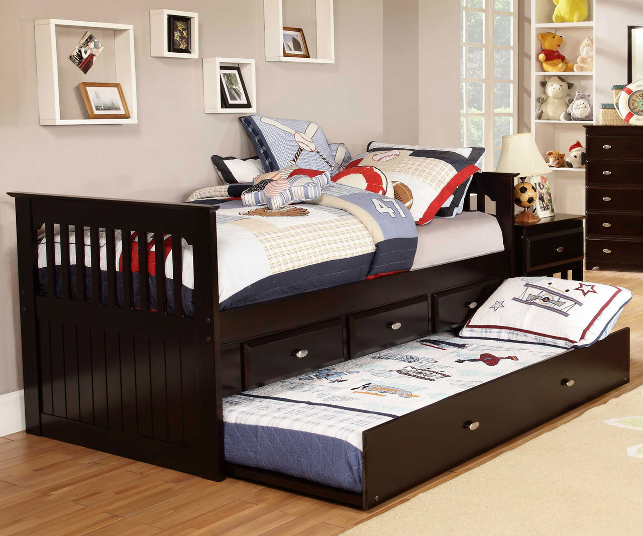 Espresso Captains Trundle Bed | Kids Furniture Warehouse