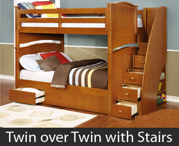 Twin over Twin Bunk Bed with Stairs