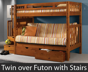 Twin over Futon Bunk Bed with Stairs