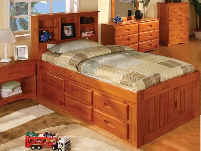 Ridgeline Twin Size Bookcase Captains Bed