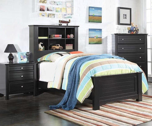 Mallowsea Bookcase Bed Twin Size Black   Acme Furniture   ACM-30380T