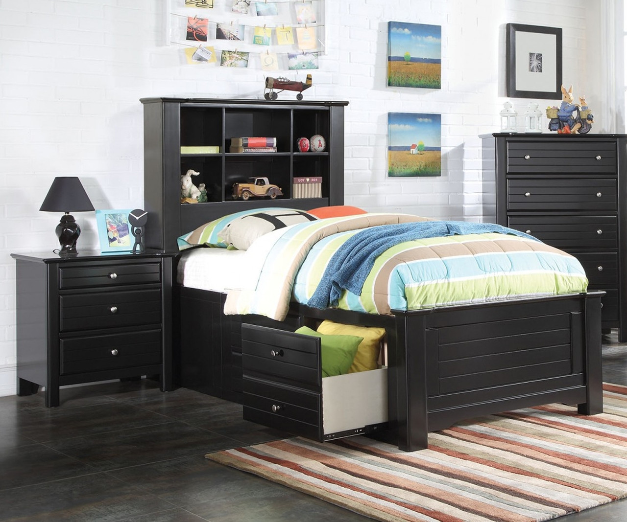 Mallowsea Bookcase Storage Bed Full Size Black