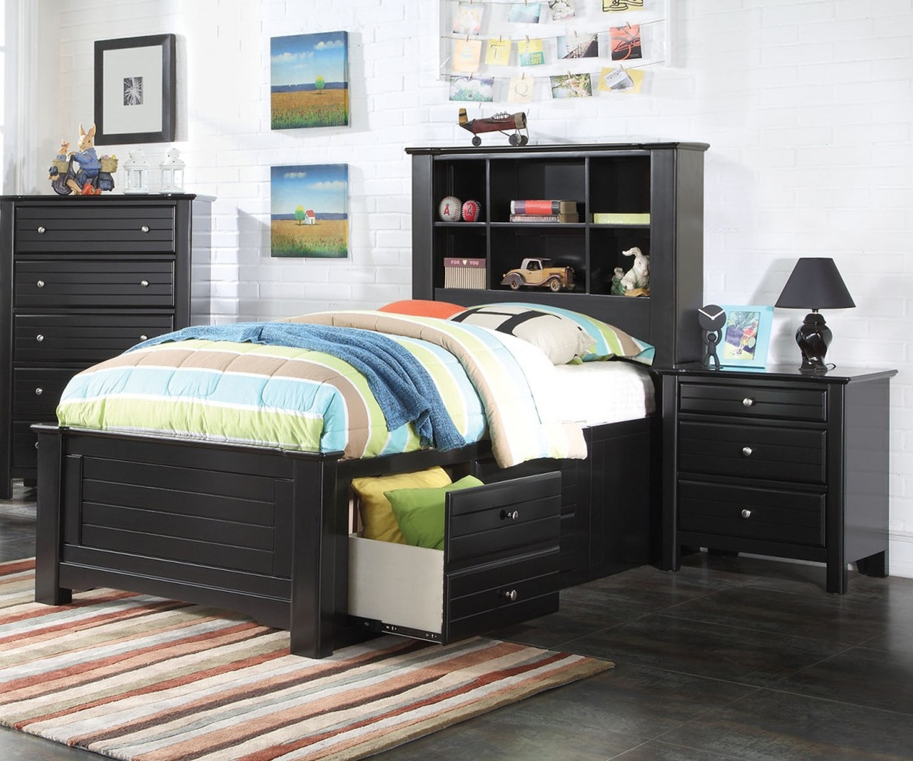 Picture of: Mallowsea Twin Size Bookcase Storage Bed In Black Finish 30390t Acme Furniture Kids And Teens Bedroom Furniture