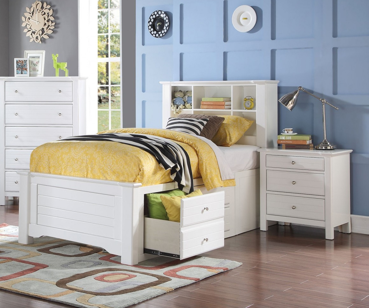 Mallowsea Twin Size Bookcase Storage Bed In White Finish 30420t Acme Furniture Kids And Teens Bedroom Furniture