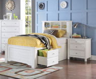 Mallowsea Bookcase Storage Bed Twin Size White   Acme Furniture   ACM-30420T