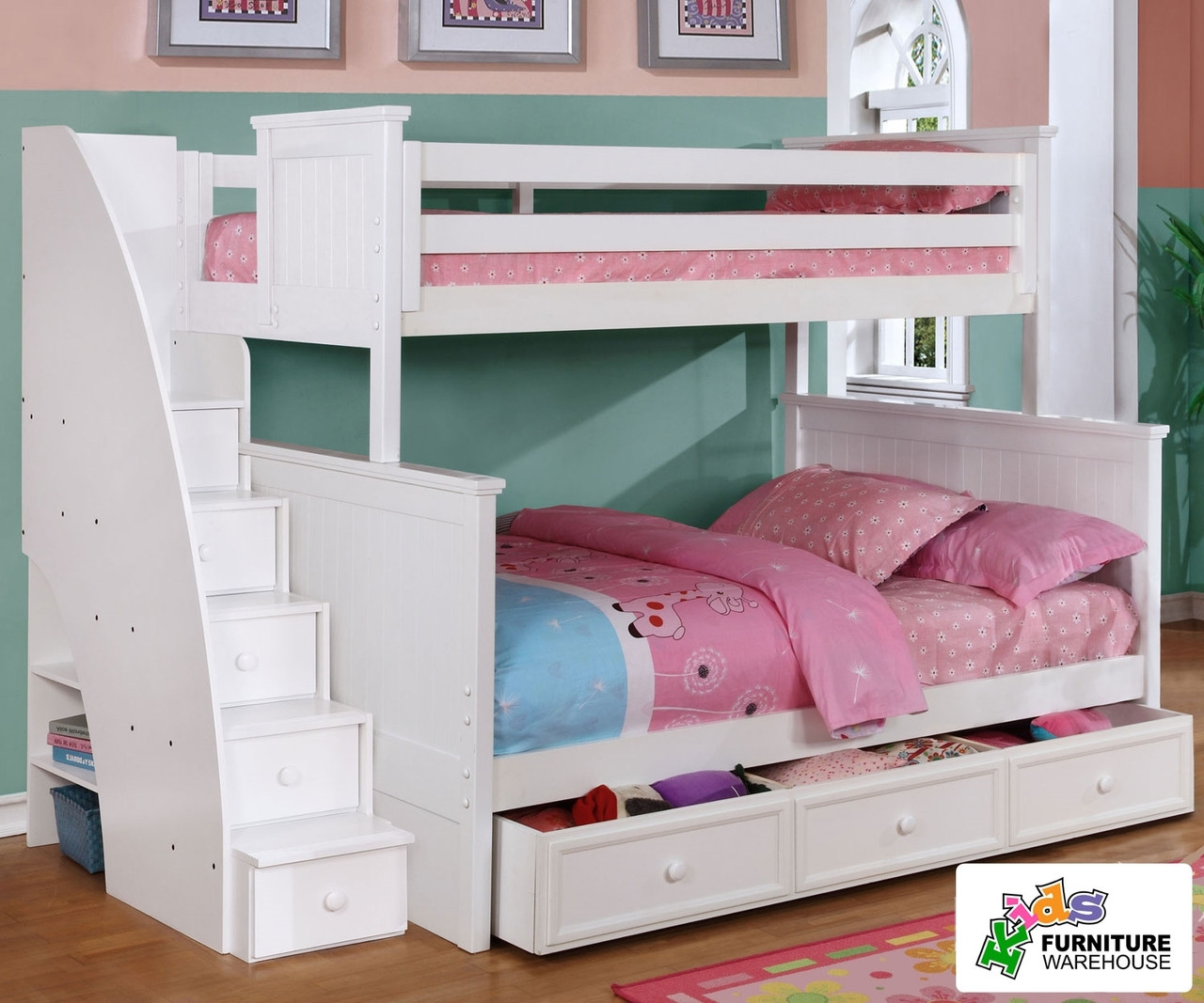 Chatham Twin Over Full Bunk Bed With Stairs In White
