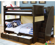Allen House Brandon Full over Full Bunk Bed with Stairs Graphite Grey | Allen House | AH-J-FF-09-STR-T-J