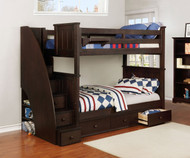 Allen House Brandon Bunk Bed with Stairs Weathered Espresso