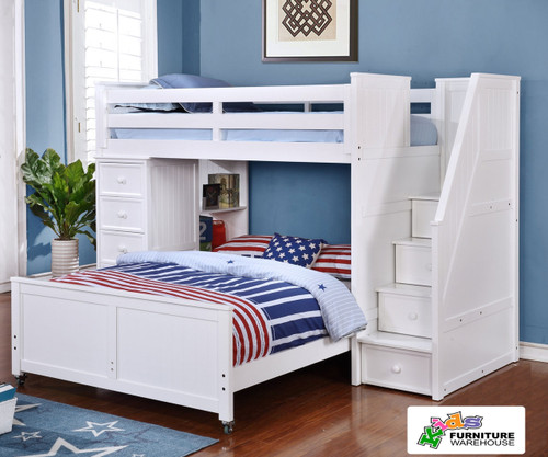 Allen House Twin over Full Storage Loft Bed with Stairs White   Allen House   AH-MULTI-TF-01
