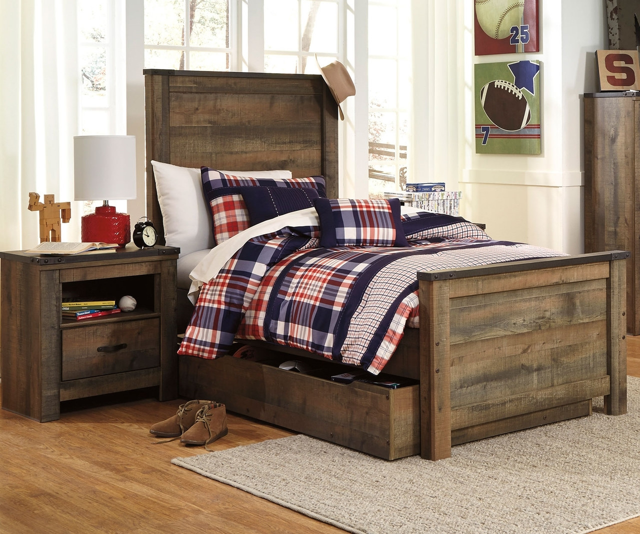 Trinell Panel Bed with Trundle Twin Size