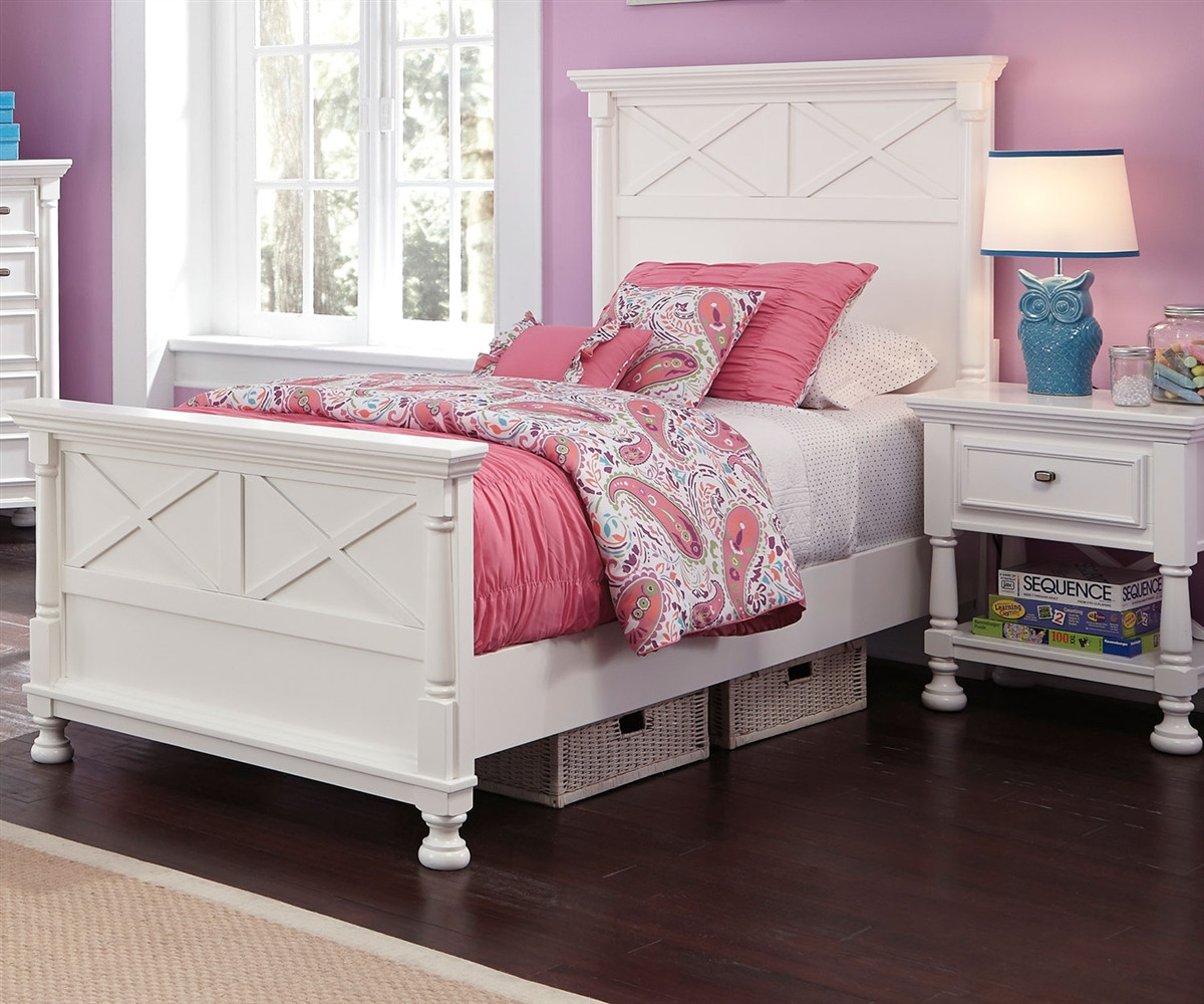 Kaslyn B502 Twin Size Panel Bed Girl S Beds In White Ashley Kids