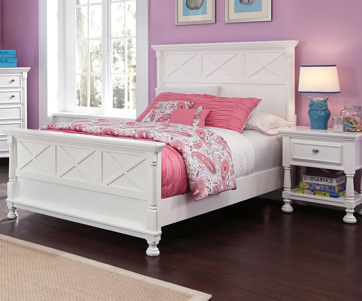 Kaslyn B502 Full Size Panel Bed Girl S Full Beds In White Ashley