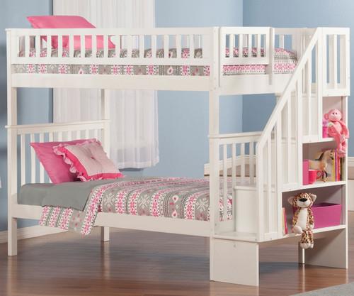 Woodland Stair Bunk Bed White | Atlantic Furniture | ATL-AB56602
