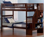 Woodland Stair Bunk Bed Antique Walnut   Atlantic Furniture   ATL-AB56604