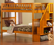 Woodland Stair Bunk Bed Caramel Latte | Atlantic Furniture | ATL-AB56607