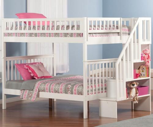 Woodland Stair Bunk Bed Full over Full White | Atlantic Furniture | ATL-AB56802