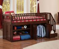 Atlantic Mini Staircase Loft Bed Antique Walnut | Atlantic Furniture | ATL-AB62104