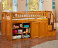 Atlantic Mini Staircase Loft Bed Caramel Latte | Atlantic Furniture | ATL-AB62107