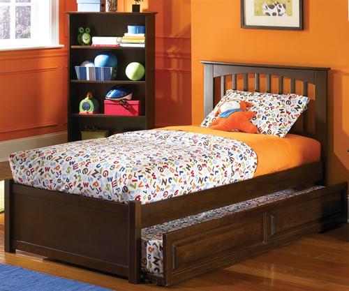 Brooklyn Full Size Trundle Bed Antique Walnut | Atlantic Furniture | ATLBRK-TRF-AW