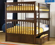 Columbia Full over Full Bunk Bed Antique Walnut | Atlantic Furniture | ATLCOL-FF-AW