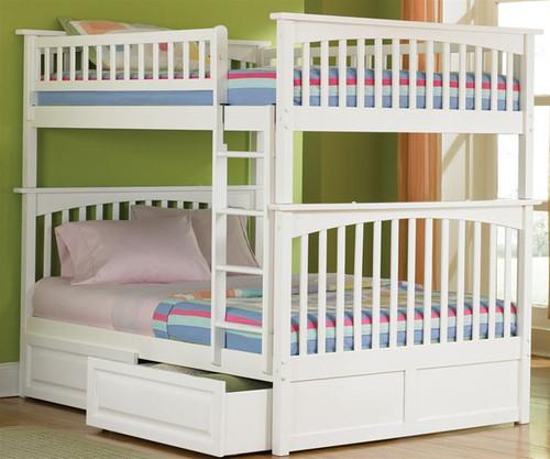 Columbia Full over Full Bunk Bed White   Atlantic Furniture   ATLCOL-FF-W