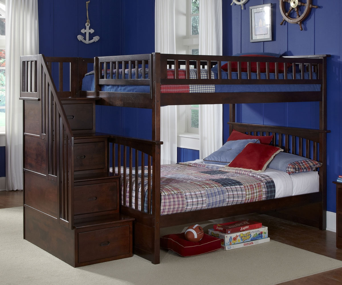 Atlantic Furniture Columbia Full Over Full Staircase Bunk Bed Kids