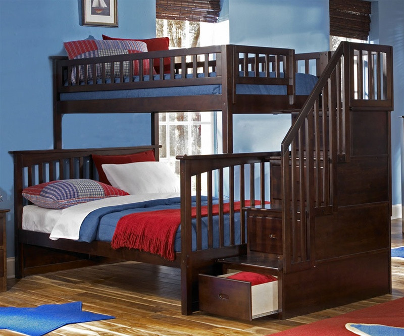 Atlantic Furniture Columbia Model Twin Full Staircase Bunk Bed Kids