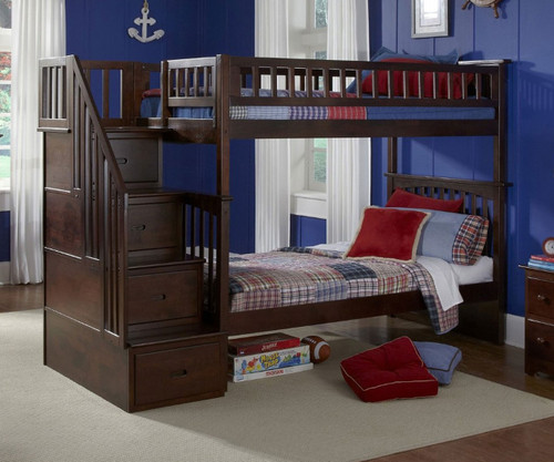 Columbia Staircase Bunk Bed Antique Walnut   Atlantic Furniture   ATLCOL-SSTT-AW