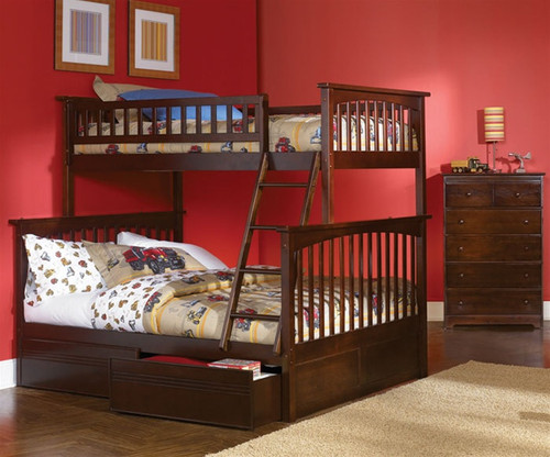 Columbia Twin over Full Bunk Bed Antique Walnut | Atlantic Furniture | ATLCOL-TF-AW