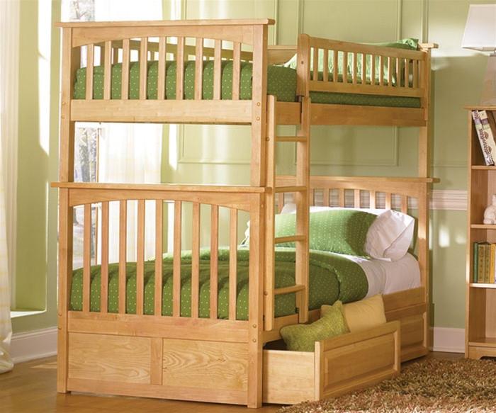 Atlantic Furniture Columbia Model Twin Natural Bunk Bed Kids Bedroom