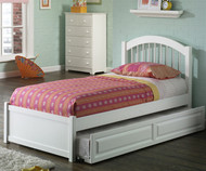 Windsor Twin Size Trundle Bed White | Atlantic Furniture | ATLWIN-TRT-WH