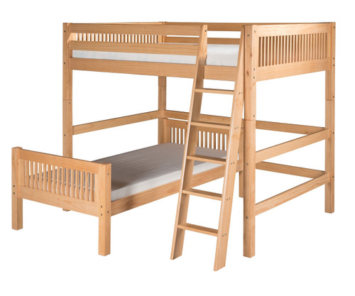 Camaflexi L-Shaped High Loft Bed Full over Twin Size Natural | Camaflexi Furniture | CF-E2111