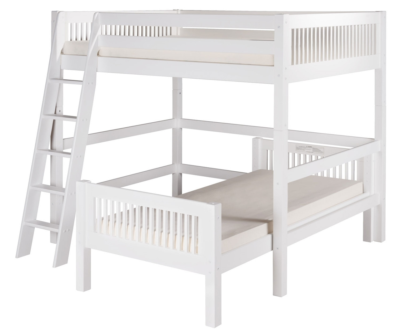 Camaflexi Full Over Twin Size Loft Bed In White Finish E2113 Camaflexi Furniture Solid Wood Kids Furniture