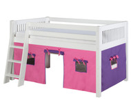 Camaflexi Low Loft Bed with Pink Tent Twin Size White | Camaflexi Furniture | CF-E413T