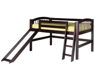 Camaflexi Low Loft Bed with Slide Twin Size Cappuccino | Camaflexi Furniture | CF-E502