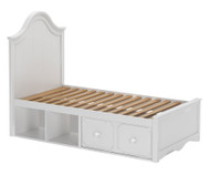 Craft CHARLESTON Panel Bed with Drawer and Cubbies Twin Size White | Craft Furniture | CK-CHARLESTON2