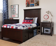 Craft LONDON Panel Bed with Drawer and Cubbies Twin Size Espresso | Craft Furniture | CK-LONDON2