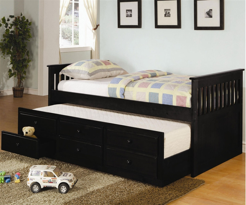 Coaster Black Trundle Captains Bed For Kids With Storage
